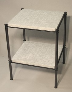 Our metal edged table with Lacquered shelves